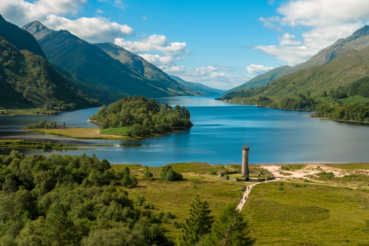 The monument and Loch Shiel